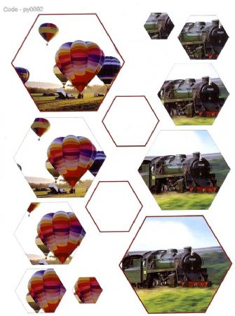 Balloon & Train Hexagon Pyramid 3D Decoupage Sheet